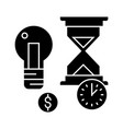 time management with hourglass icon vector image
