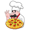 chef with italian pizza vector image