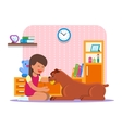 girl playing with her dog vector image