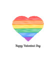 happy valentine s day with colored scribble heart vector image