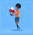 african american girl blogger hold cell smart vector image vector image