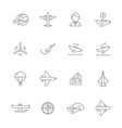 aircraft line icons airplane travelling symbols vector image