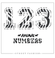 Animals mosaic numbers for t-shirts posters card vector image