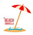 beach umbrella sand beach summer vacation vector image vector image
