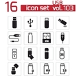 black usb icons set vector image vector image