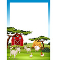 Border design with farm animals vector image vector image