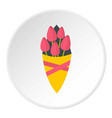 bouquet of pink tulips icon circle vector image