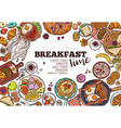 breakfast menu hand drawn template vector image