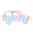 bright colorful immigration stamps arranged in car vector image