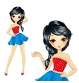 Brunette Girl In Blue Skirt vector image vector image