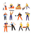 building or construction works builders and vector image
