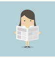 businesswoman standing and reading a newspaper vector image vector image