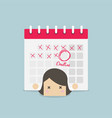 businesswoman with calendar over her back vector image vector image