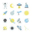 cartoon color cosmos sign icon set vector image