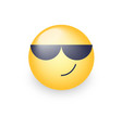 cartoon emoticon wearing black sunglasses happy vector image vector image