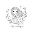 cartoon knitting girl intresting hobcoloring vector image