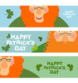 cheerful leprechaun Set of cards Web banners for vector image