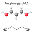 Chemical formula and model of propylene glycol vector image vector image
