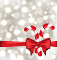 Christmas glowing background with gift bow and vector image vector image