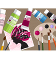 Collection of drawing tools and acrylic paints on vector image vector image