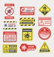 coronavirus warning quarantine attention signs vector image