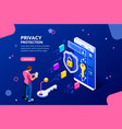 data protection template for website vector image