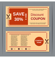 Discount coupon design template vector image vector image