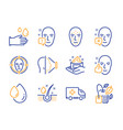 face id oil drop and face detect icons set vector image vector image
