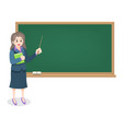 female teacher on lesson with chalkboard vector image vector image