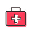first aid kit flat outline icon vector image