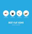 flat icon farm set of hacksaw harrow lawn mower vector image vector image