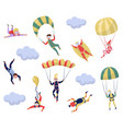 flat set of professional skydivers extreme vector image