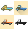 flatbed truck icon set in flat and line styles vector image vector image