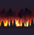 forest fire realistic silhouette landscape vector image
