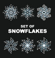 hand draw snowflake set cute style vector image