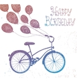 hand drawn vintage bicycle with balloons vector image