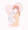 happy mother with child hand drawn vector image