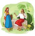 jesus and samaritan woman at well vector image vector image
