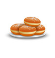 jewish bakery on plate icon realistic style vector image vector image