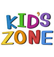kids zone symbol on white background vector image vector image