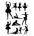 little ballerina gesture silhouette vector image