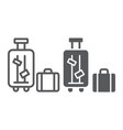 luggage line and glyph icon suitcase and bag vector image