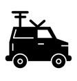 machine portable radio solid icon van with vector image vector image