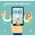 Mobile health care and medicine concept vector image