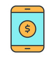 money symbol on smartphone screen line icon vector image vector image