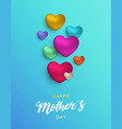mothers day card pink hearts for mom love vector image vector image