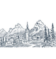 mountain landscape with snowy peaks engraved vector image
