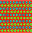 pattern of blue hearts and green stripes on a red vector image vector image