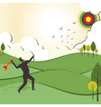 people hit to archery board vector image