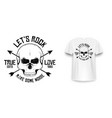 rock and roll t-shirt graphic design with skull vector image